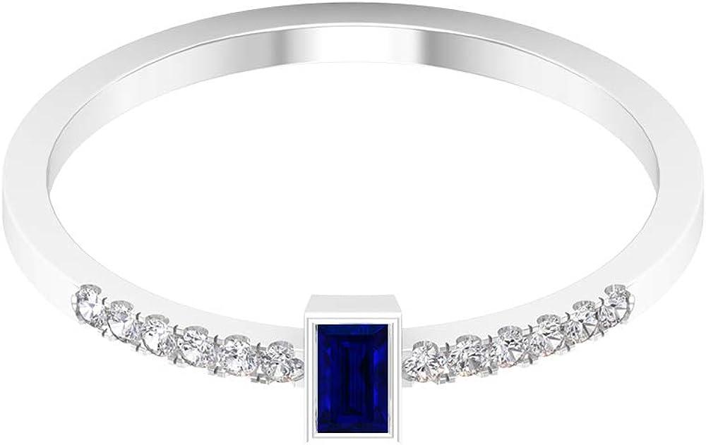 Baguette Gemstone Ring, Diamond Accent Ring, Promise Rings for Women,14K White Gold
