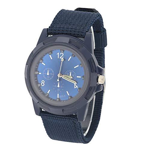 Brrnoo Reloj de Pulsera analógico Simple electrónico, Reloj analógico Unisex para Adultos Reloj de Pulsera Militar con Correa de Nailon Redonda(03)