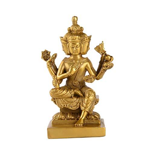 Handmade Brass Thailand 4 Faces Buddha Statue Lord Brahma Phrom Figurine Oriental Decor ZD150