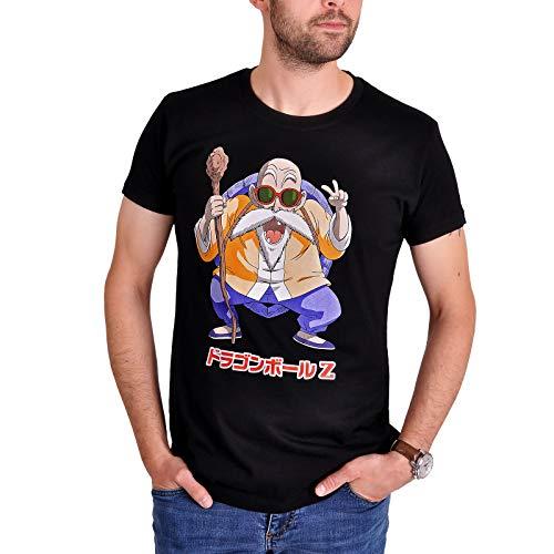 Suncity Camiseta para Hombre Dragon Ball Z Muten Roshi Algodón Negro - L