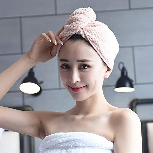 Toalla de microfibra para secar el pelo, gorro de ducha superabsorbente con botón, turbante para baño, sauna o baño