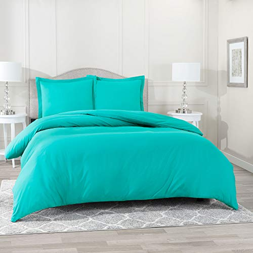 "Nestl Bedding Duvet Cover Set – Ultra Soft 100% Microfiber Hotel Collection 3 Piece Set with 2 Pillow Shams - Insert Comforter Protector, Duvet Covers with Button Closure – Queen 90""x90"", Teal Blue"