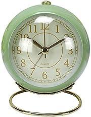 Ertisa Väckarklocka, ministorlek nattduksbordslampa väckarklocka tyst tickar inte resa vakna timer klocka med nattlampa, lätt kvartsklocka klassisk för studenter/pojkar/flickor, batteridriven (grön)