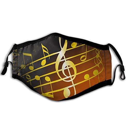 RUIP Mundschutz für Erwachsene, Schwarz mit goldfarbener Musiknote, für Damen und Herren, verstellbare Gesichtsabdeckungen