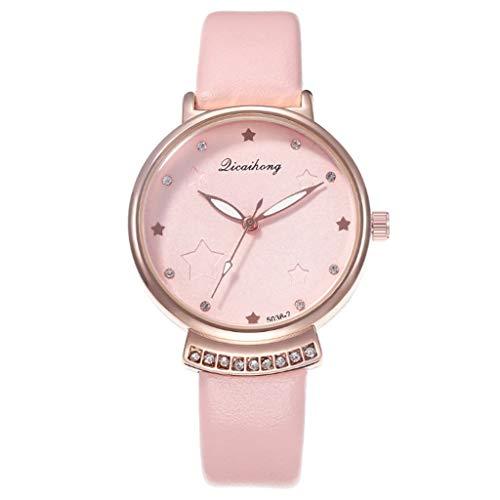 Uhr Armbanduhren Männer Damenuhren Hansee Schüler Persönlichkeit Uhr Star Literal Damen Quarzuhr Beiläufige Uhr Watch Uhren Herrenuhr(Rosa)
