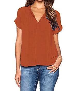 LILBETTER Women s Casual Chiffon Summer Blouse V Neck Short Sleeve Top Shirts Orange,Large