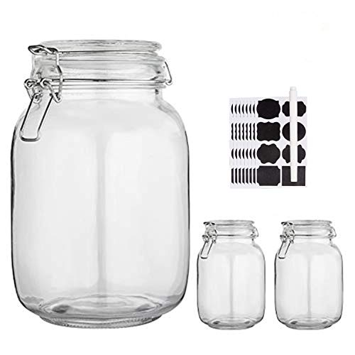 Glass Kitchen Storage Canister Mason Jars with Lids,50oz Airtight Glass Canister with Hinged Lid,Perfect for Kitchen Canning Cereal,Pasta,Sugar,Beans ( Labels & Chalk Marker)-Set of 3