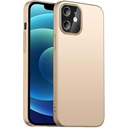 Arktis Hardcase, UltraSlim Hülle kompatibel mit iPhone 12 [kabelloses Laden] Schutzhülle Polycarbonat Hülle Gold