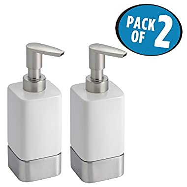 mDesign Liquid Hand Soap Ceramic Dispenser Pump Bottle for Kitchen, Bathroom | Also Can be Used for Hand Lotion & Essential Oils - Pack of 2, White/Brushed Nickel