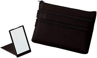 【+Aura】プラスオーラ セルム スリム ポーチ (ミラー付き) 黒 ピンク 人気 化粧ポーチ バッグインバッグ 旅行