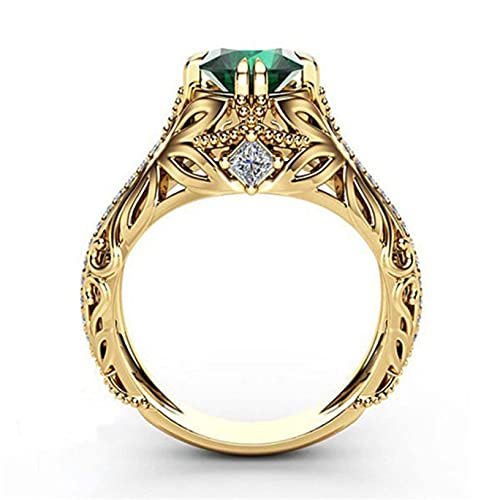 Womens Zircon Engagement Ring New Emerald Plating 14K Gold Ring Women...
