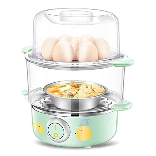 YFGQBCP vaporera Multi-función for cocinar Huevos, Mini cocinar Huevos de Apagado automático de la máquina de la categoría alimenticia Desayuno 304 Acero Inoxidable Lavado fácil
