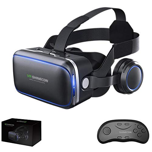 VR-Headset, 3D-Brille, Virtual-Reality-Headset für VR-Spiele & 3D-Filme Pack mit Fernbedienung, VR-Brille mit integrierten Kopfhörern mit 120-Grad-Fokus für 4,5-6,5 Zoll iOS/Android Smartphone