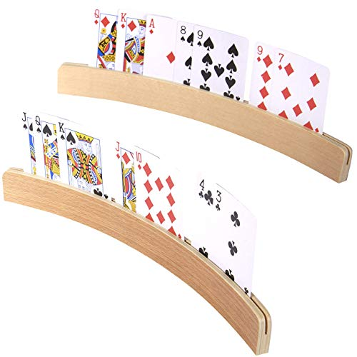 Silly Goose Games Curved Wooden Card Holders for Playing Cards, Playing Card Holder for All Ages -...