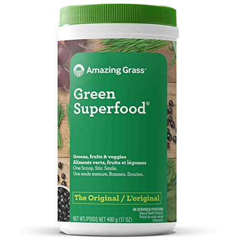 Amazing Grass Green Superfood Organic Powder with Wheat Grass and Greens, Flavor: Original, 60 Servings, 17 Ounces