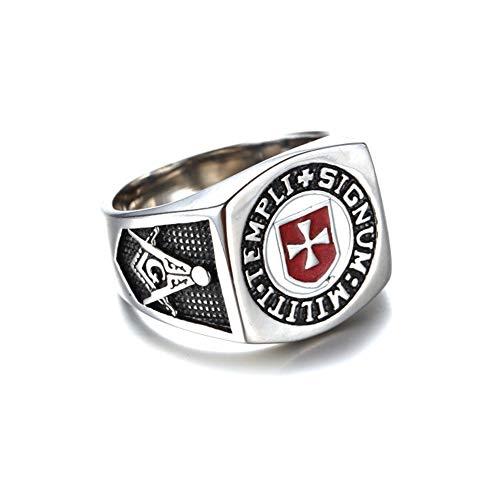 Franc Maçon Anillo Masónico - Anillo de Caballero Templario de la Orden Templaria - Cruz de Malta