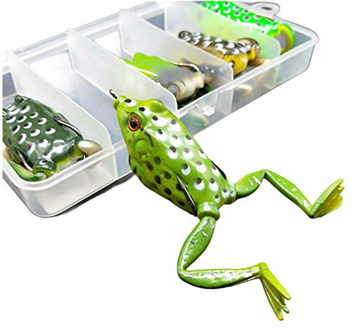 Bass Topwater Frog Lures Kit - Soft Plastic Fishing Lures Bait Set 5 Pc - Bass, Pike, Snakehead - Tackle Box for Your Bass Fishing Frogs - Freshwater Fishing Lures (Frogs with Legs)