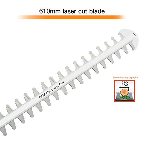 GARCARE Corded Electric Hedge Trimmer - Electric Tree Trimmers | Branch Cutter | Hedge Shears (4.8A, 610mm Laser Cut Blade, 18mm Cutting Capacity, Rotary Handle, Blade Cover Included)