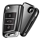 OATSBASF Funda para Llave VW, Funda Llave VW Golf 7-3 Botones para Coche VW MK7 Seat Skoda Carcasa de Llaves TPU (Negro)