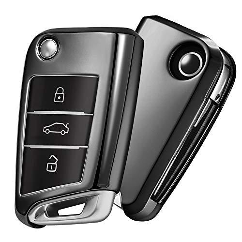 OATSBASF Autoschlüssel Hülle VW,VW Golf 7 Schlüsselbox,Schlüsselhülle Cover für vw Polo Skoda Seat 3-Tasten (Schwarz)[Verpackung:MEHRWEG]