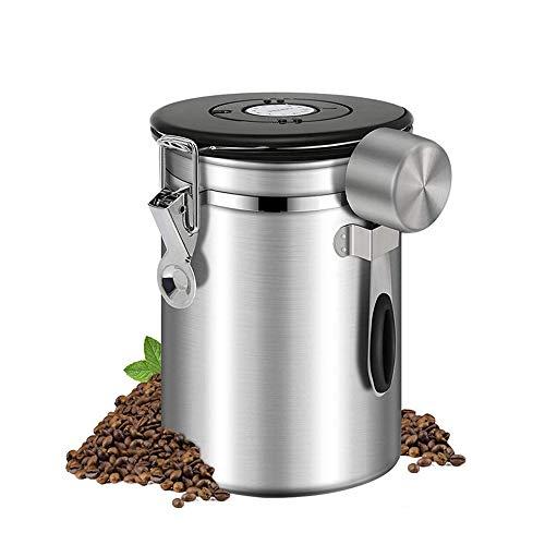 IWILCS Kaffeedose, Kaffeebehälter mit Edelstahl Löffel 1.5L Aromadose Vorratsdose Aromadose Vorratsdose für Kaffeebohnen Pulver Tee Nüsse Kakao (Silber)