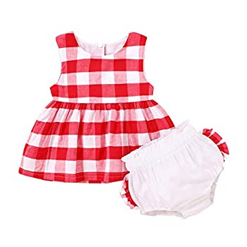 Toddler Baby Girls Summer Clothes Sleeveless Plaid Top Dress + White Ruffle Short Pants Outfit  Red 12-18 Months