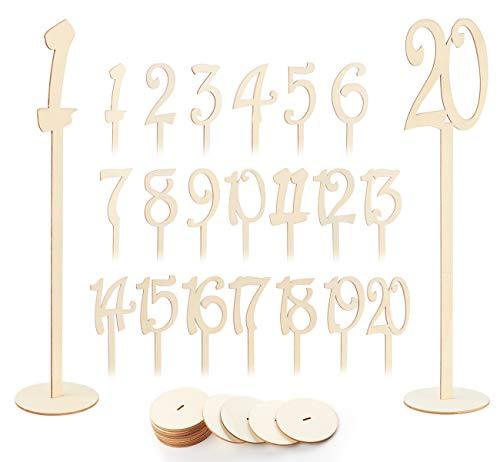 Absofine 1-20 Hochzeit Tischnummern Holz tischkartenhalter Halter Basis Holz Nummern für Hochzeit Party Tabelle Dekoration