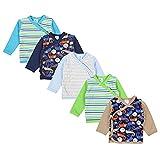 TupTam Baby Jungen Langarm Wickelshirt Baumwolle 5er Set, Farbe: Mehrfarbig 1, Größe: 74