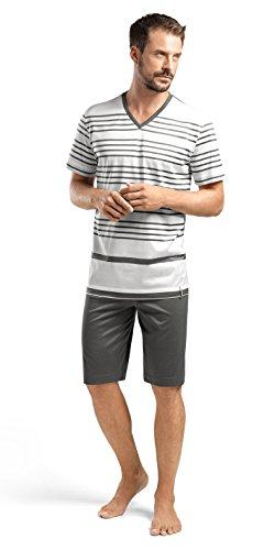 Hanro Herren Pyjama-Set Oscar Sleeve, Kurze Streifen - Mehrfarbig - Small