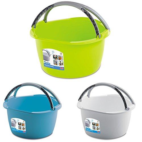 Schüssel mit Tragegriff Waschschüssel 16 Liter 40 x 40 cm Rund Spülschüssel Wasserschüssel Tragekorb Kunststoff Spüle Korb Waschbecken Aufbewahrung Camping Abwaschschüssel Plastik Eimer Putzeimer