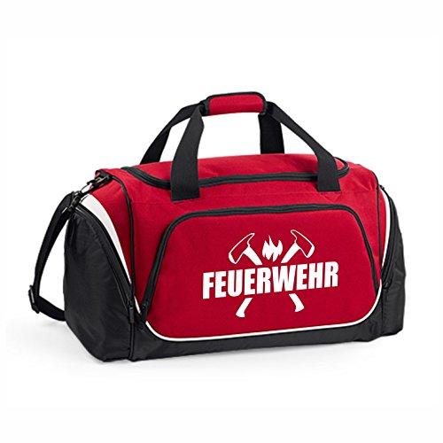 Hochwertige Feuerwehr Sporttasche - 62x32x30cm - 55 Liter - Tasche - Umhängetasche - Fitnessbag - Bag - Tragetasche - Reisetasche - Rettungsdienst - THW - Sportbag (Rot)