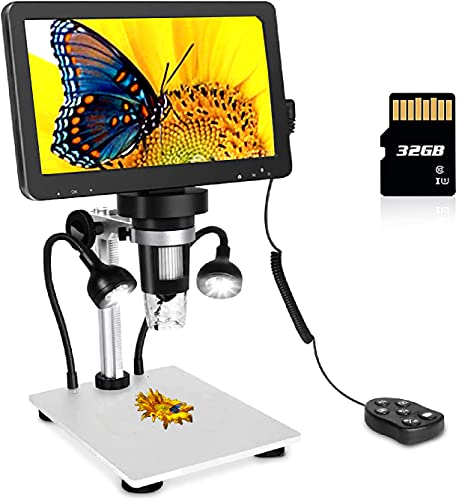 LCD Digital USB Microscope 7 in HD Screen 32 G TF Card, Circuit Board Repair Soldering PCB Coins,12mp Video Camera Microscope,8 Adjustable Light, 1-1200X Magnification with Rechargeable Battery