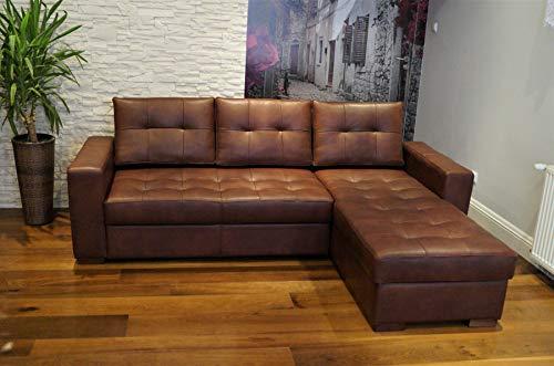 Quattro Meble Echtleder Ecksofa Mallorca Pik 245 x 170cm Sofa Couch mit Bettfunktion und Bettkasten Echt Leder mit Ziernaht Eck Couch