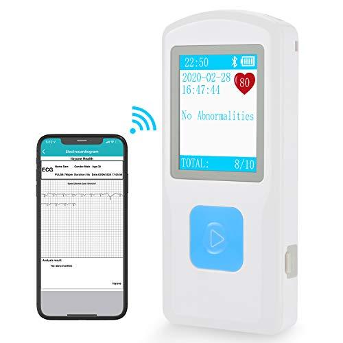 1byone Elektrokardiographen Bluetooth tragbarer EKG-Monitor, EKG Gerät Wireless Personal Funktioniert mit Smartphone | Herzfrequenzmesser Erkennt AFib Bradykardie und Tachykardie in 10 Sekunden