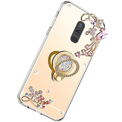 Herbests Cover Case Compatibile con Samsung Galaxy J8 2018 Mirror Custodia Silicone Diamante Glitter Bling Cover con Supporto Anello Custodia Flessibile Gomma Morbida Silicone Case,Oro