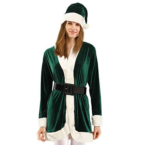 KESYOO Disfraz de Navidad para mujer Disfraz de Sra. Claus para mujer Disfraz de Papá Noel de Navidad Vestido de cosplay para mujeres y niñas (verde)