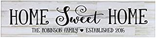 Ruskin352 Home Sweet Home Personalized Family Established Wall Signs, Last Name sign for home, Wedding, Anniversary, Living Room, Entryway 10 x 40 cm.