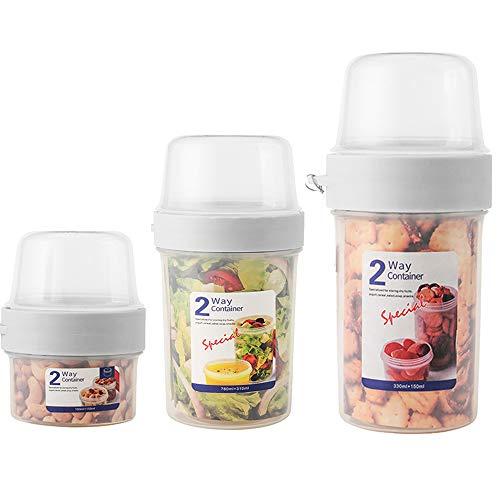 N / A Joghurtbecher, Praktischer Salatbecher Müslibecher, Reisebecher, Lunchbox, to go Becher Geeignet für Tiefkühler, Mikrowelle und Spülmaschine (3er Pack, 150 + 150 ml/150 + 330 ml/310 + 760 ml)