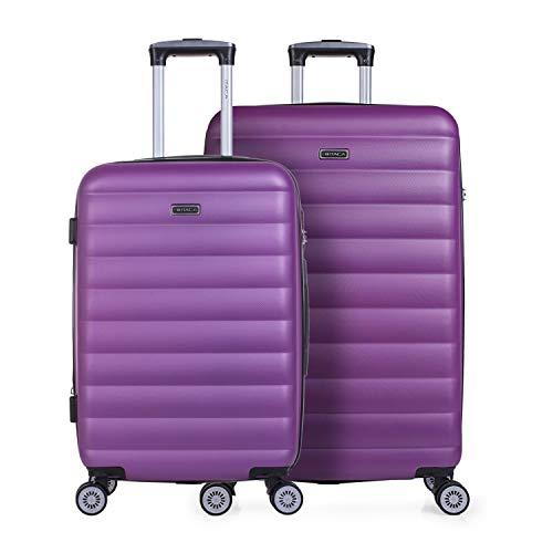 ITACA - Juego de Maletas de Viaje Rígidas 4 Ruedas Trolley 65/75 cm ABS. Extensibles. Cómodas Prácticas y Ligeras. Mediana y Grande. Calidad y Precio 71216, Color Morado