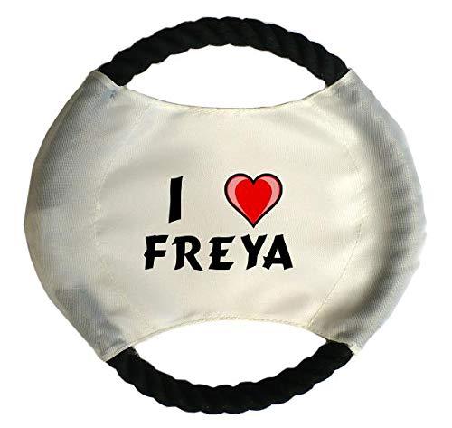 Personalisierter Hundefrisbee mit Aufschrift Ich liebe Freya (Vorname/Zuname/Spitzname)