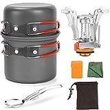 Estufa de camping Juego de utensilios de picnic al aire libre Conjunto de Cook Set de picnic portátil ultraligero Doblar utensilios de cocina Pan 1-2 personas para cocinar Naranja mejor regalo