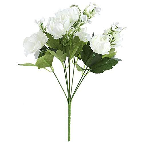 Changor Flores de peonía Artificial Blanca, Hecha de 布 Flores de Color Flores Guirnalda Guirnalda para decoración del hogar y diseño de Escena
