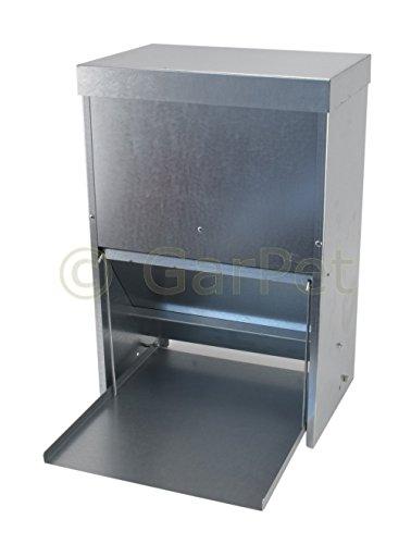 Hühner Geflügel Futterautomat mit Tritt Klappe Platte Futter Trog Spender Silo (Futterautomat 20 L)