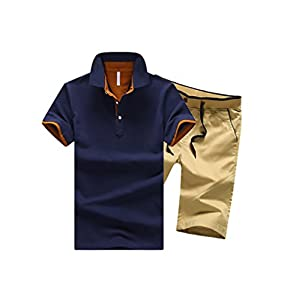 Spinas (スピナス) メンズ セットで簡単コーディネート ポロシャツ ハーフ パンツ 上下 セット セットアップ ショート パンツ 短パン イージーパンツ 全5種