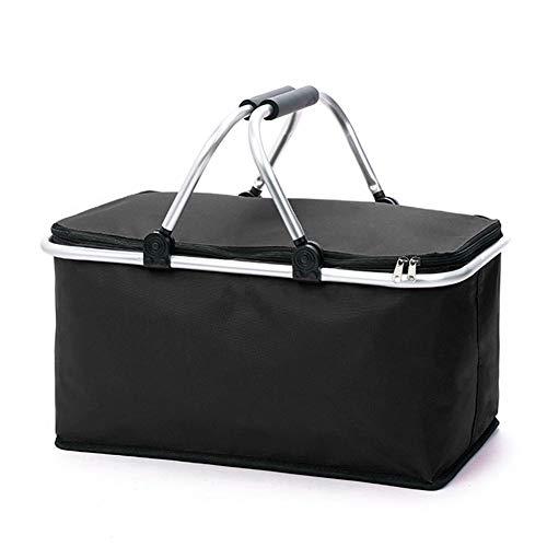 Cesta de la compra plegable con función de aislamiento, bolsa de la compra, camping o picnic | negro/rojo/azul | Cesta plegable | Cesta isotérmica | Bolsa de la compra | (negro)