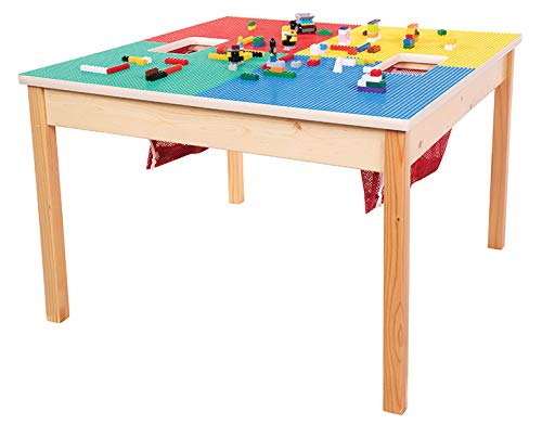 Heavy Duty Lego Compatible Table with 2 Built-in Lego Storage(Patent)-32'x 32'-Made in USA!- PREASSEMBLED with Solid Wood Legs & Main Frame- Built to Last!! Ages 5 & UP