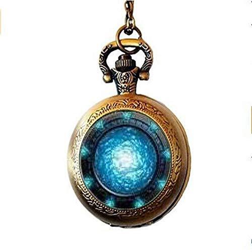 Stargate Portal Atlantis Anhänger Taschenuhr, Stargate Portal Atlantis Halskette Taschenuhr Charme, Stargate Portal Atlantis Anhänger Taschenuhr Glas Schmuck