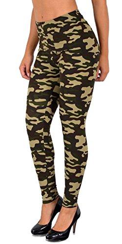 ESRA Damen Leggings Military Legins Hose in Camouflage Army Style L12