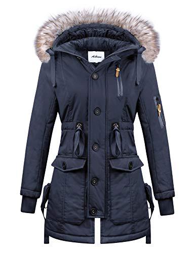 Aibrou winterjas dames gevoerd lange winter jas parka mantel met capuchon winterparka outdoor parka functionele parka winterjas