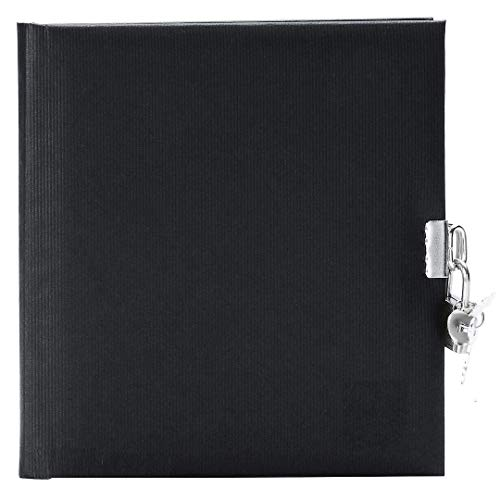 Goldbuch 44045 - Tagebuch, Seda, 96 weiße Seiten, 16,5 x 16,5 cm, Schloss mit 2 Schlüsseln, Kunstdruck gerippt, schwarz